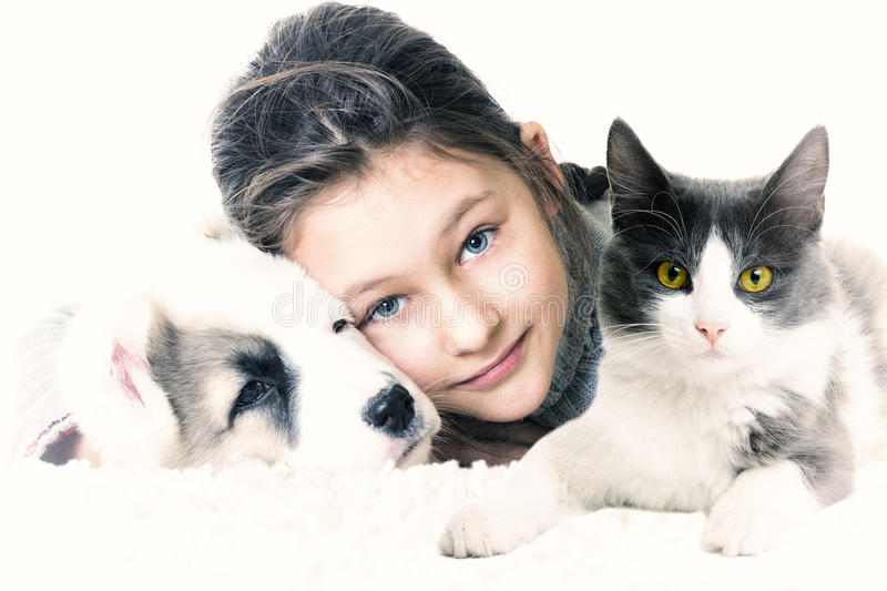 Child and pets. On a white background stock image