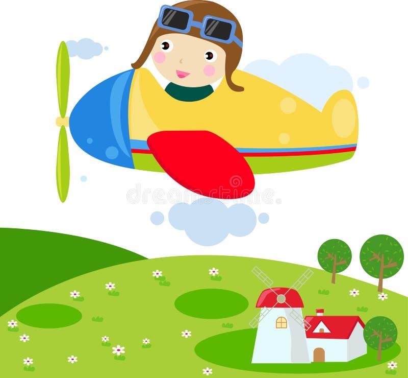 Child in Plane. Illustration art stock illustration