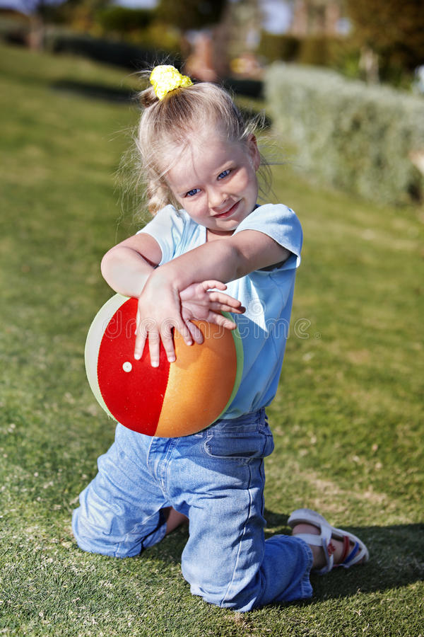 Download Child Play With  Ball In  Park Stock Image - Image: 18437621