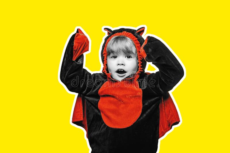 Child play in costume dracula. Halloween decoration and scary concept. Halloween wide banner. Scary face. Advertisement stock photos