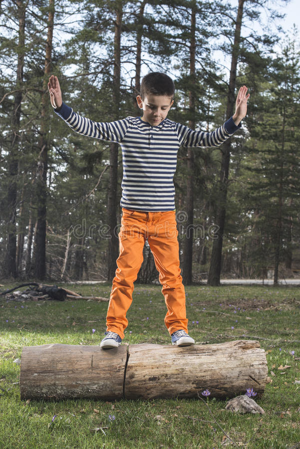 Child play in the forest.  stock image