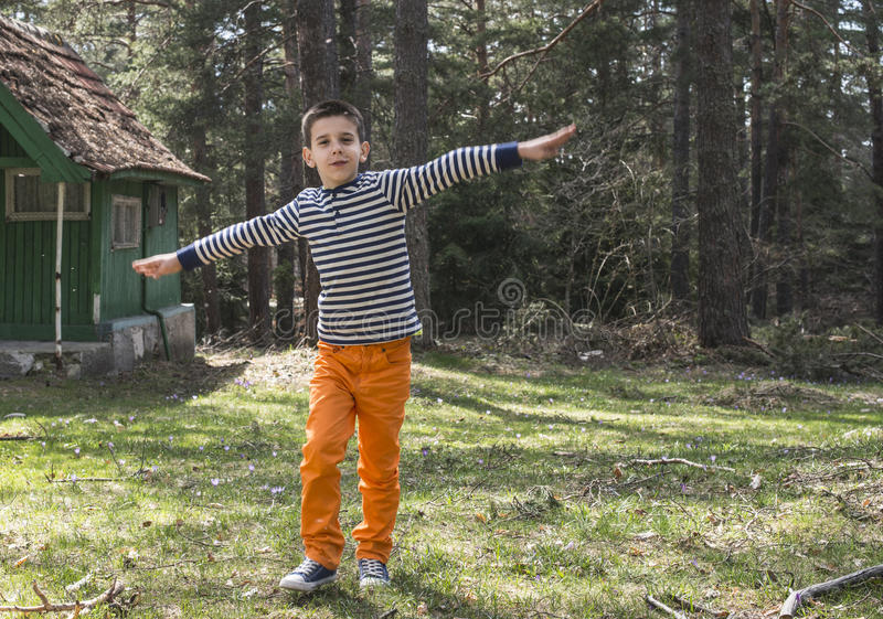 Child play in the forest.  royalty free stock images