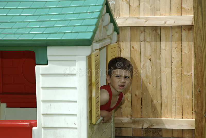 Child in Playhouse stock image
