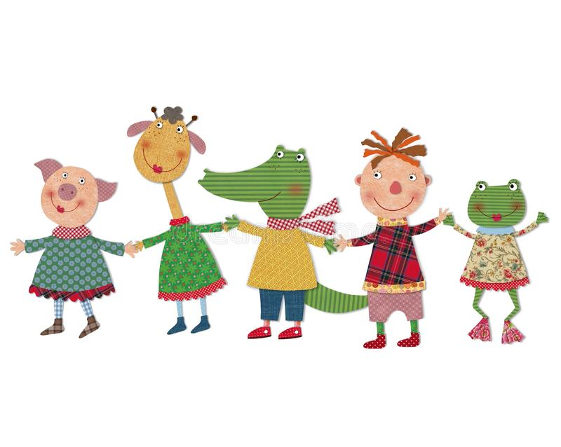 Child playing with animals. Colorful fabric and paper quiltting royalty free illustration