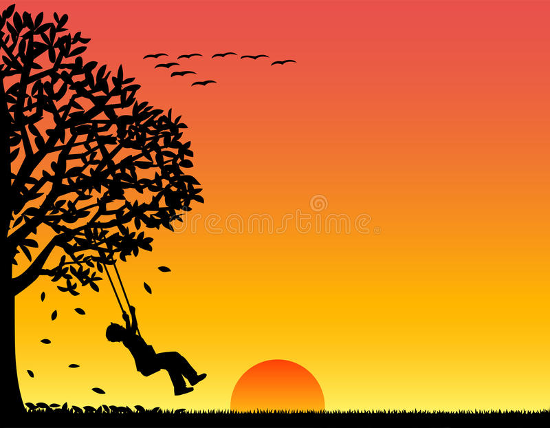 Child Playing in Autumn/eps. Silhouette illustration of a child swinging against an autumn sunset stock illustration