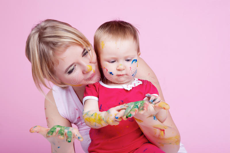 Download Child Playing With Color Paints Stock Image - Image: 23233209