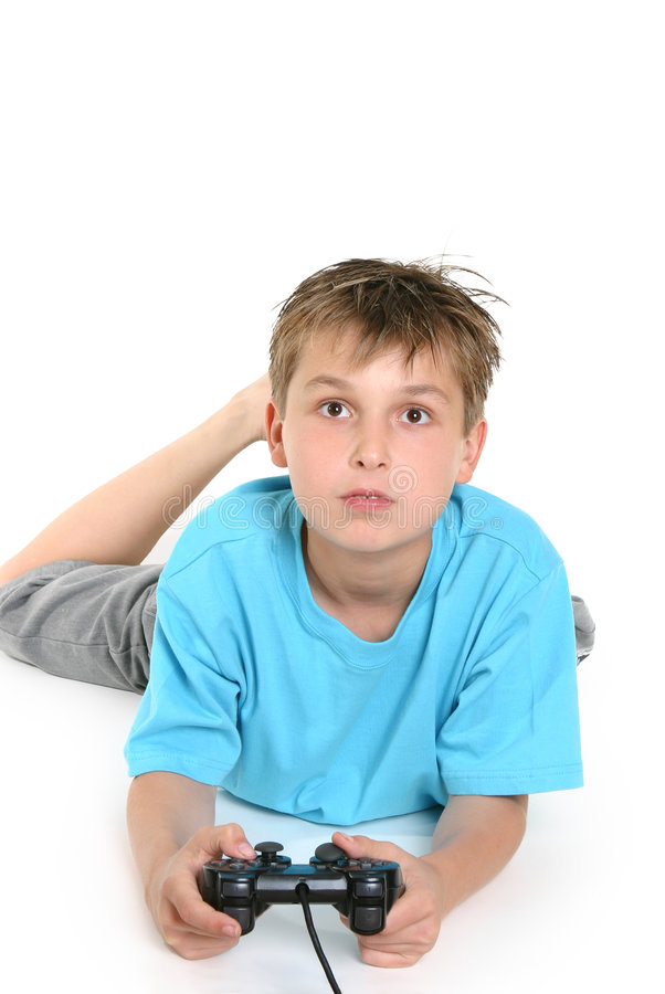 Child playing computer games. stock photo