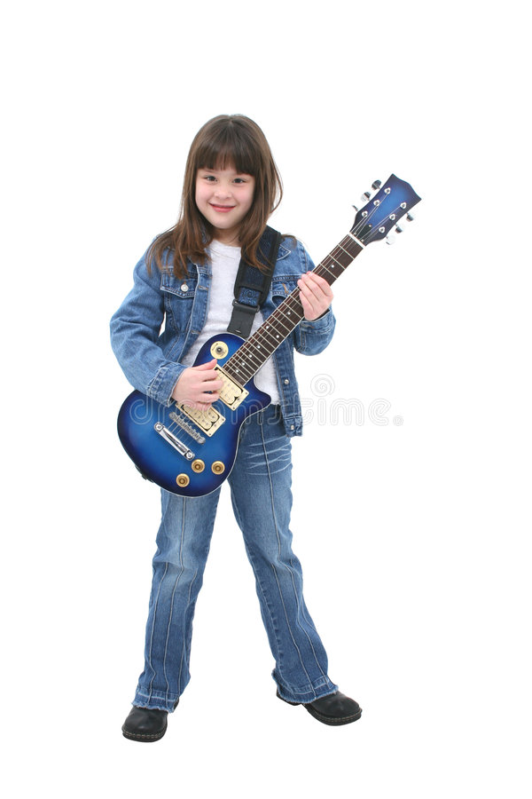 Child Playing Electric Guitar stock photos