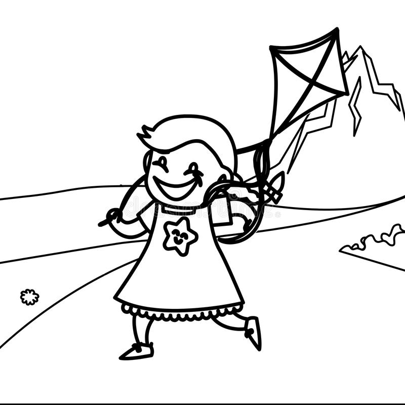 download child playing kite coloring page stock illustration illustration of building drawn 86598887 - Coloring Page Kite
