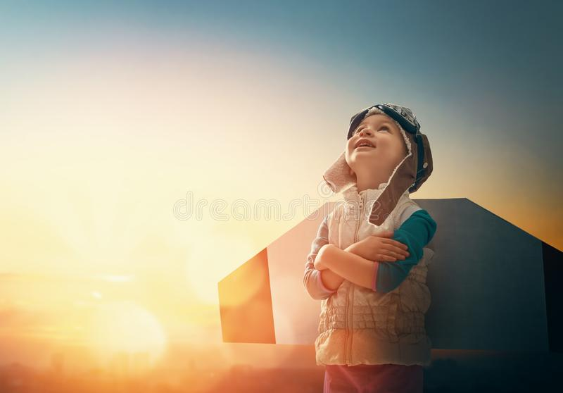 Child is playing pilot royalty free stock photo