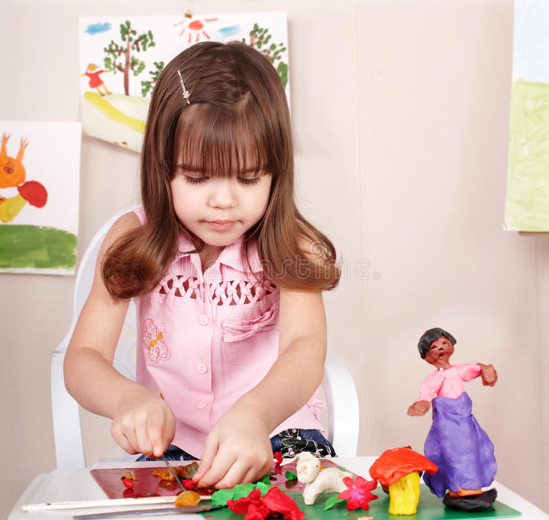 Download Child Playing With Plasticine In School. Stock Image - Image: 15124617