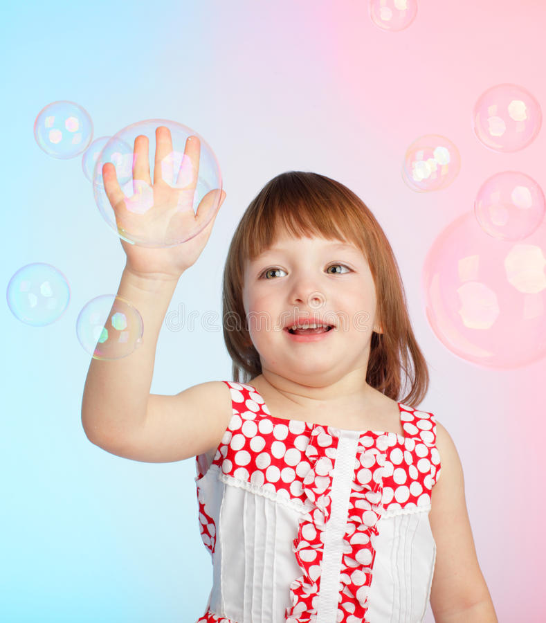 Download Child Playing With Soap Bubbles Stock Image - Image of child, games: 13391809