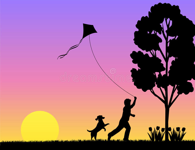 Child Playing in Spring/eps royalty free illustration