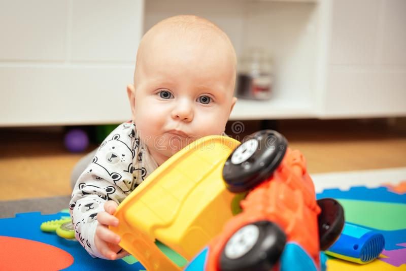 Child Playing Toys. Children Development Concept. Baby Kid royalty free stock images