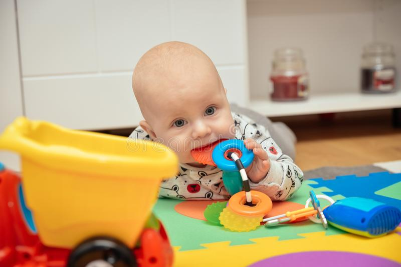 Child Playing Toys. Children Development Concept. Baby Kid royalty free stock photos