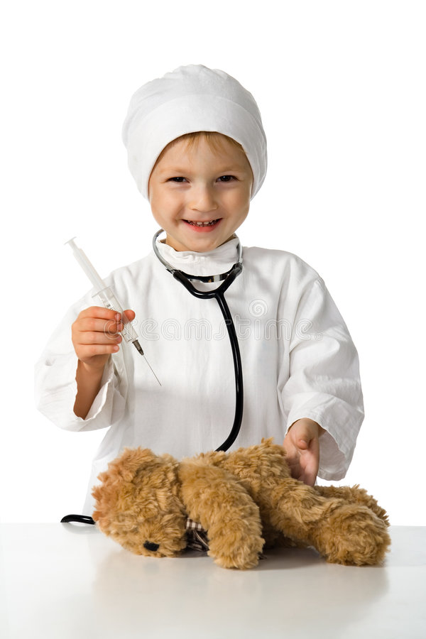Download Child plays the doctor stock image. Image of people, illness - 3190351