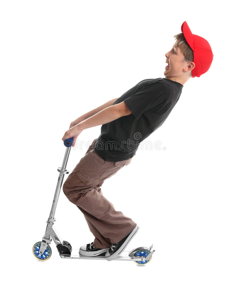 Download Child plays on a scooter stock image. Image of white, playing - 4154311