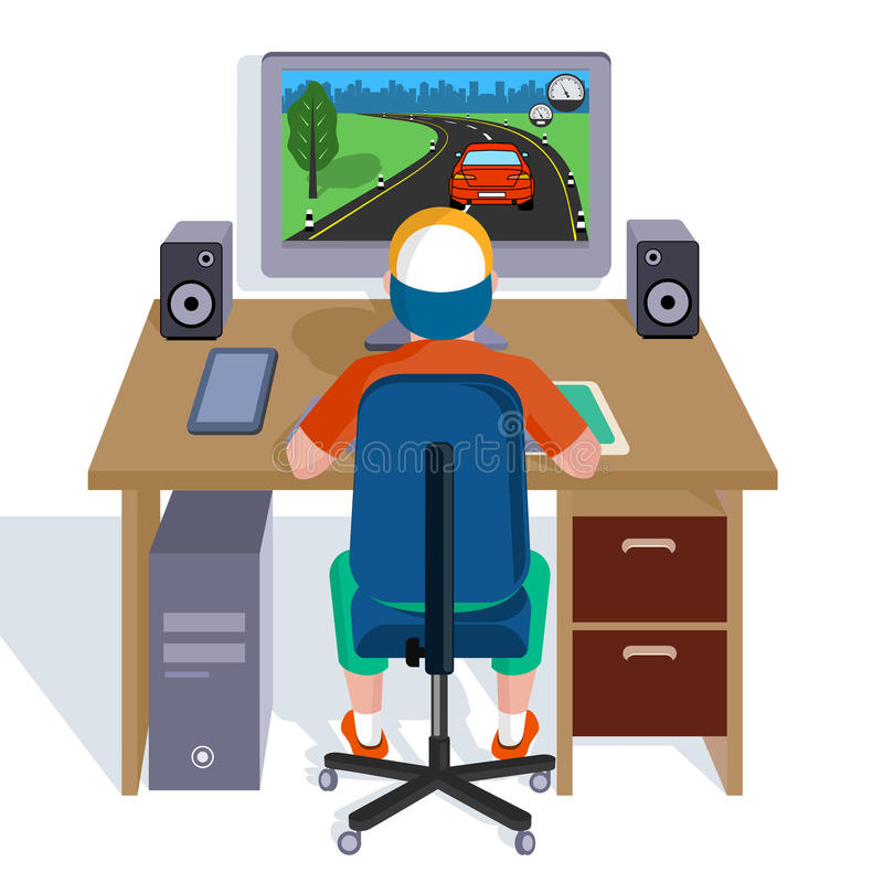 Child plays video games on the computer. vector illustration
