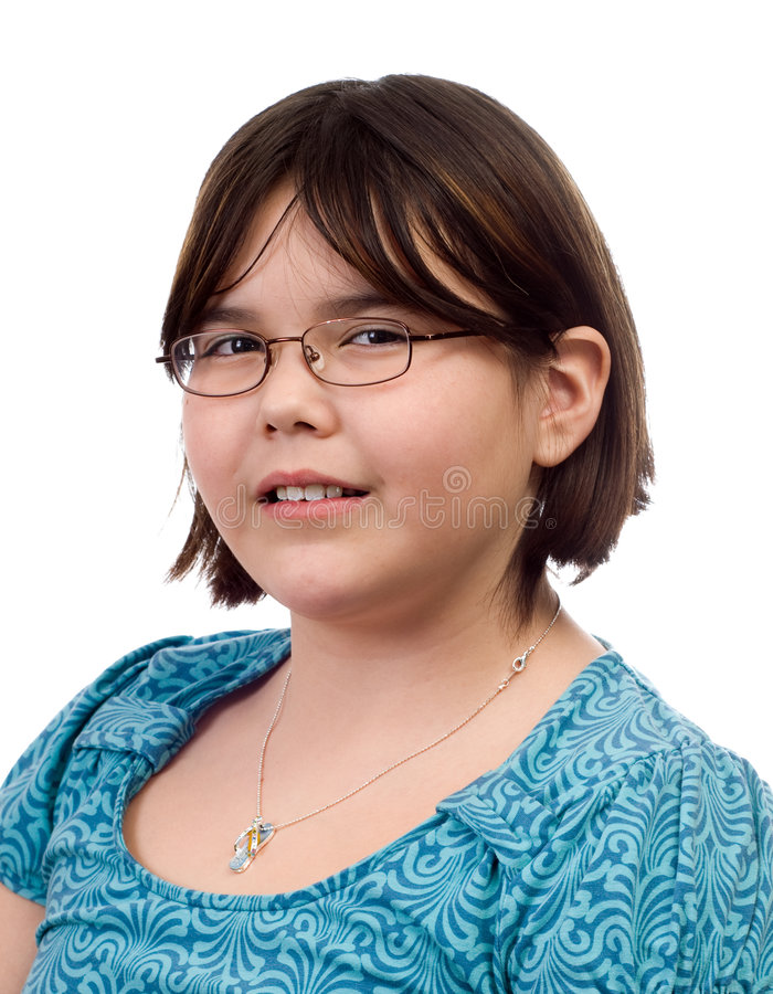 Child Portrait. A ten year old girl's portrait, isolated against a white background stock photography