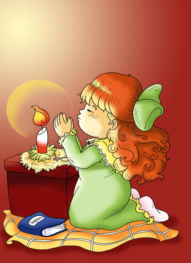 Child that prays. Illustration of a child that prays before going to sleep