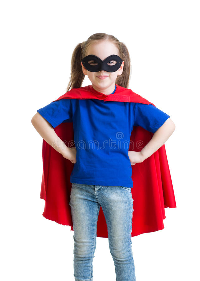 Child pretending to be a superhero. Child girl pretending to be a superhero royalty free stock photo