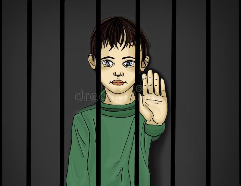 The child in prison. Children of criminals. Behind bars. royalty free illustration