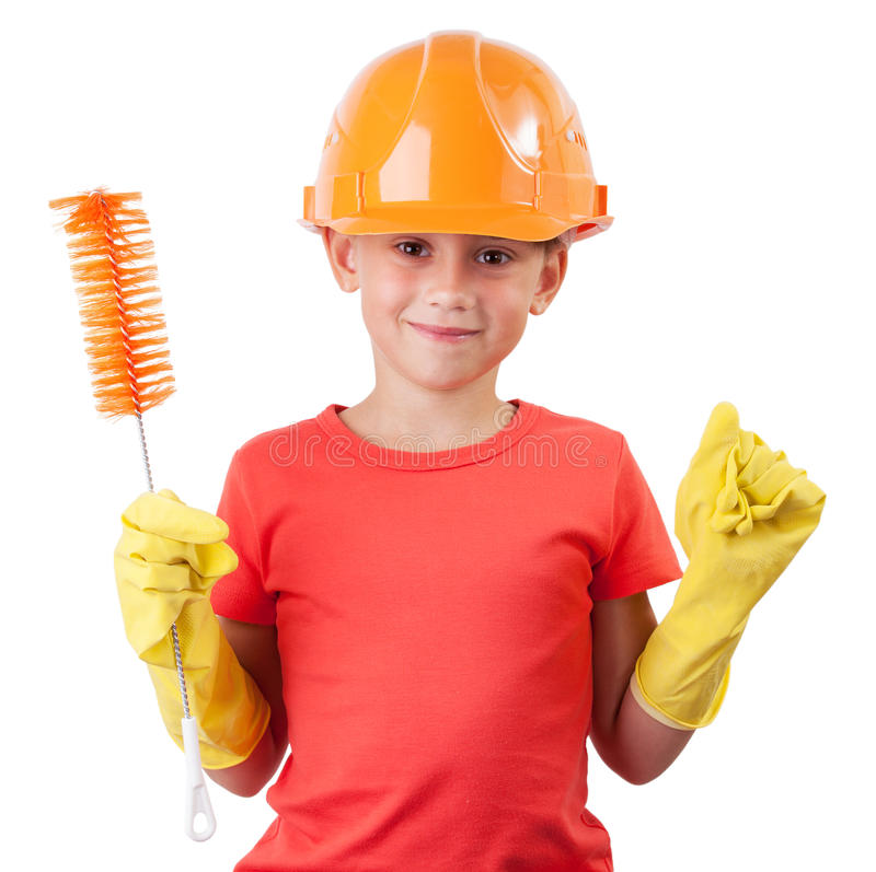Child in a protective helmet