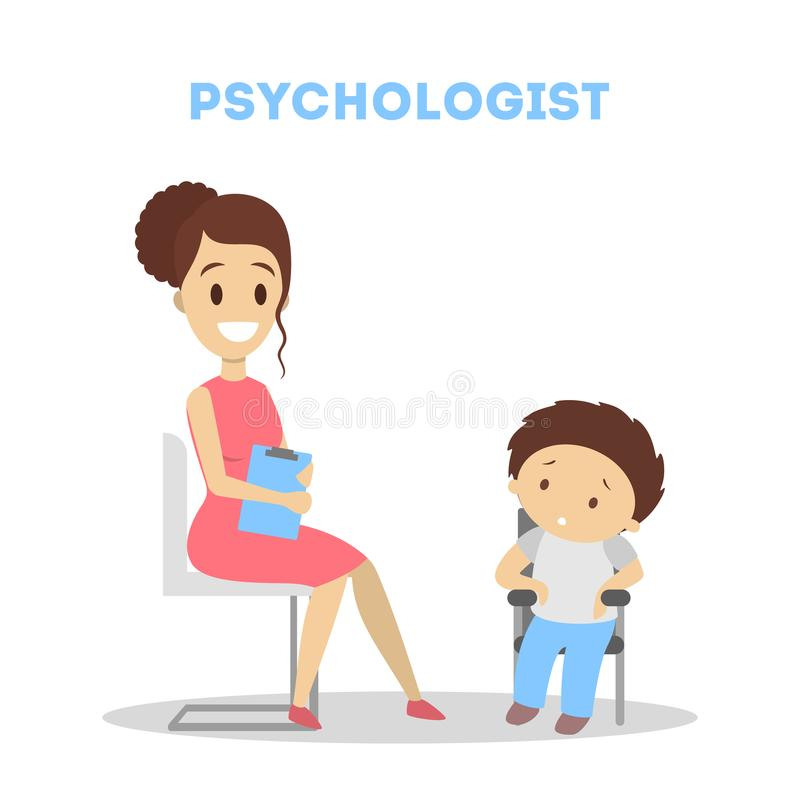 Child at psychology. stock illustration