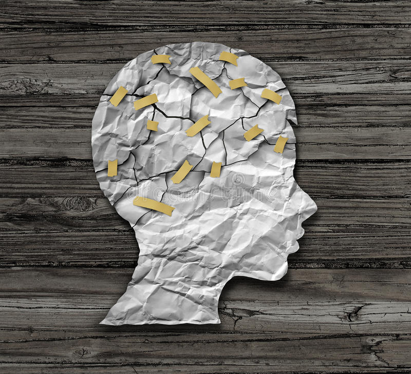 Child Psychology. And psychiatric therapy for children concept as broken crumpled paper taped together as an education support and medical or counselling vector illustration