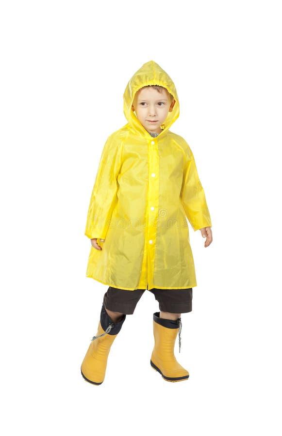 Child with raincoat. Isolated on white background stock image