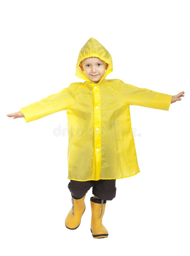 Child with raincoat. Isolated on white background stock images