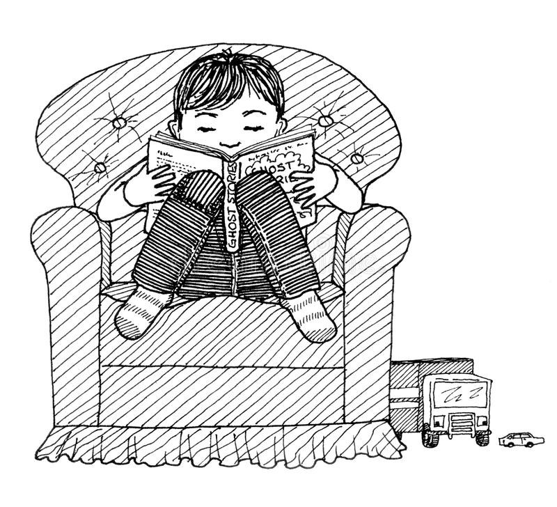 Child reading. Ink drawing of a small boy reading a book stock illustration