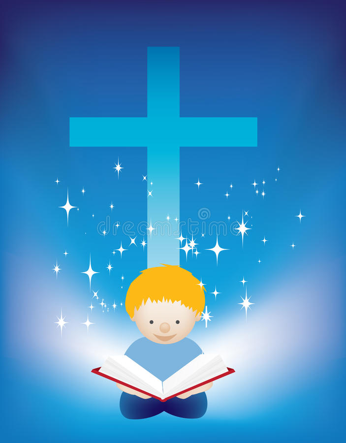Child reading bible. Illustration of a small child reading the bible stock illustration