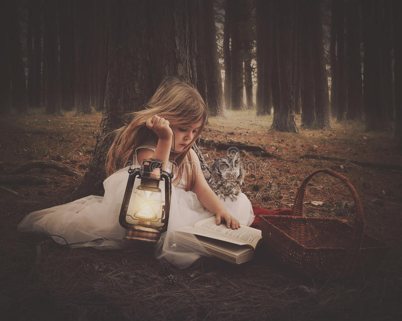 Child Reading Book with Owl in Dark Woods. A little girl in a white dress is reading on old story book with an owl and glowing lantern in the dark woods for an royalty free stock photos