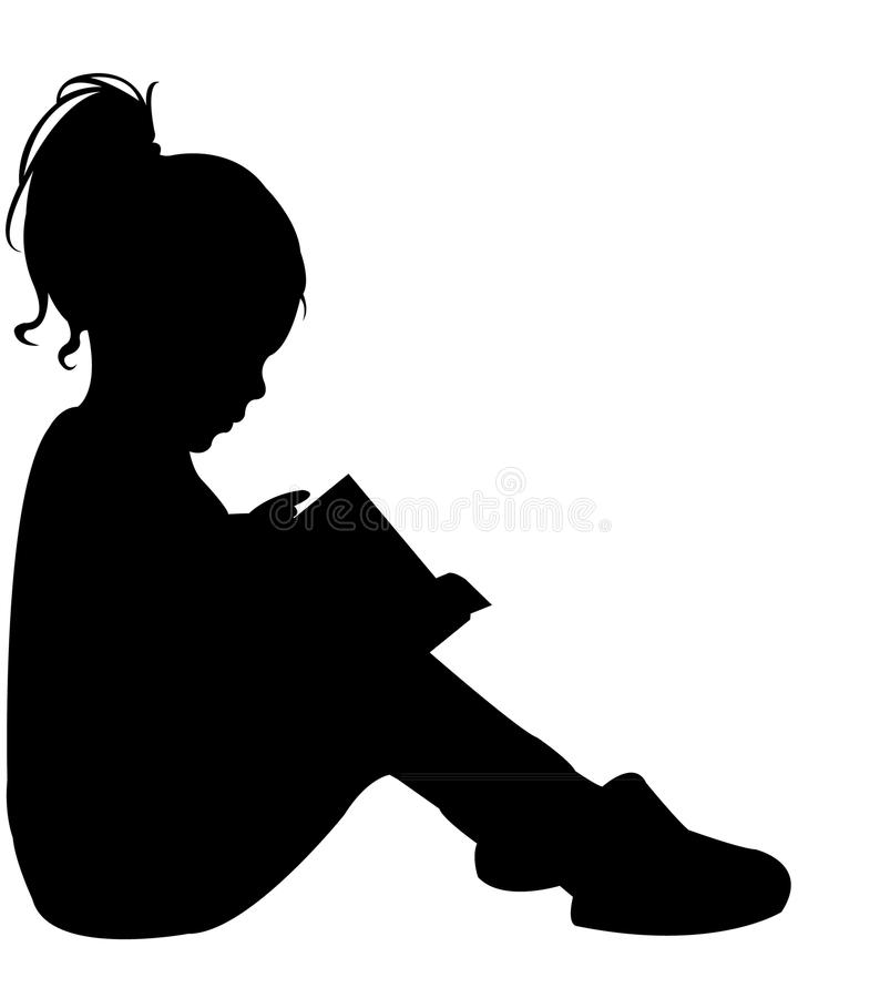 Child reading the book, silhouette vector. Child reading the book, black color silhouette vector stock illustration