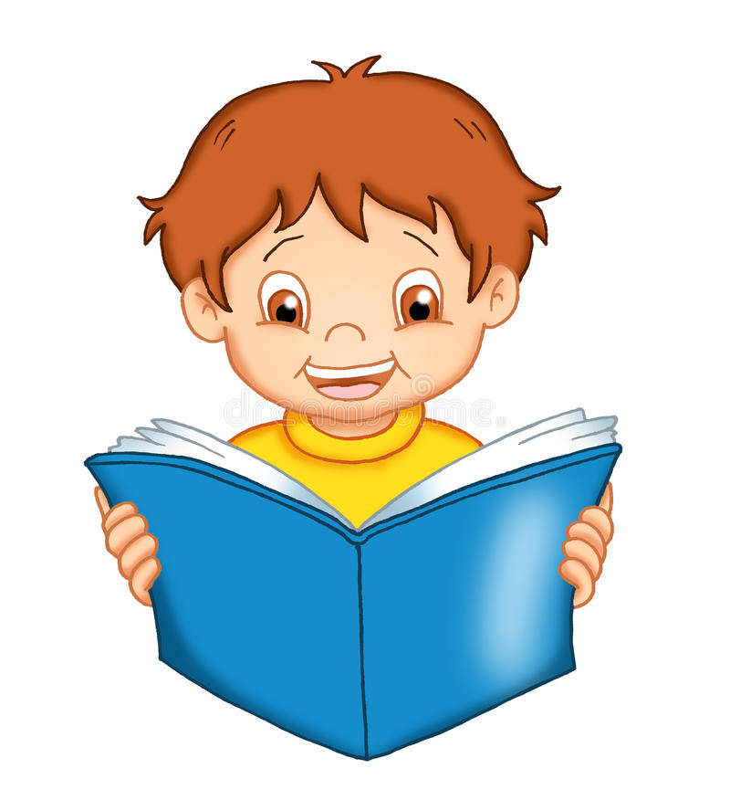 Child that reads. Illustration of a child that studies with an open book among the hands