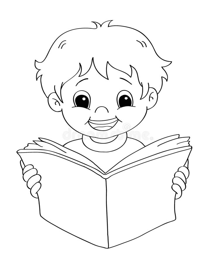 Child that reads - BW. A sketch in black and white of a child that reads