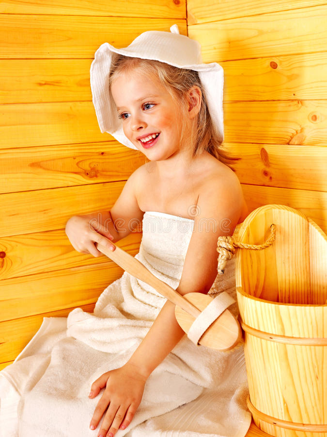 Child Relaxing At Sauna. Royalty Free Stock Photography