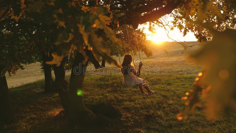 Child rides a rope swing on an oak branch in park sunset. girl laughs, rejoices. young girl swinging on a swing under a. Child rides a rope swing on an oak stock image