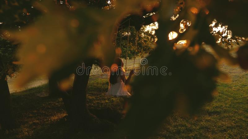 Child rides a rope swing on an oak branch in park sunset. girl laughs, rejoices. young girl swinging on a swing under a. Child rides a rope swing on an oak stock photos