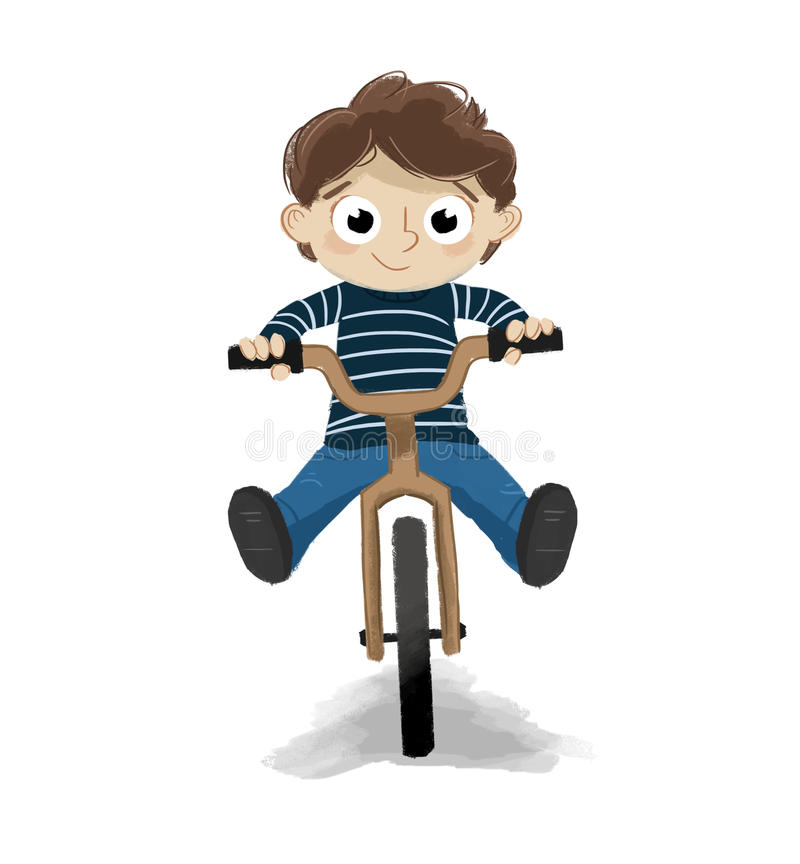 Child riding on a bicycle white background vector illustration