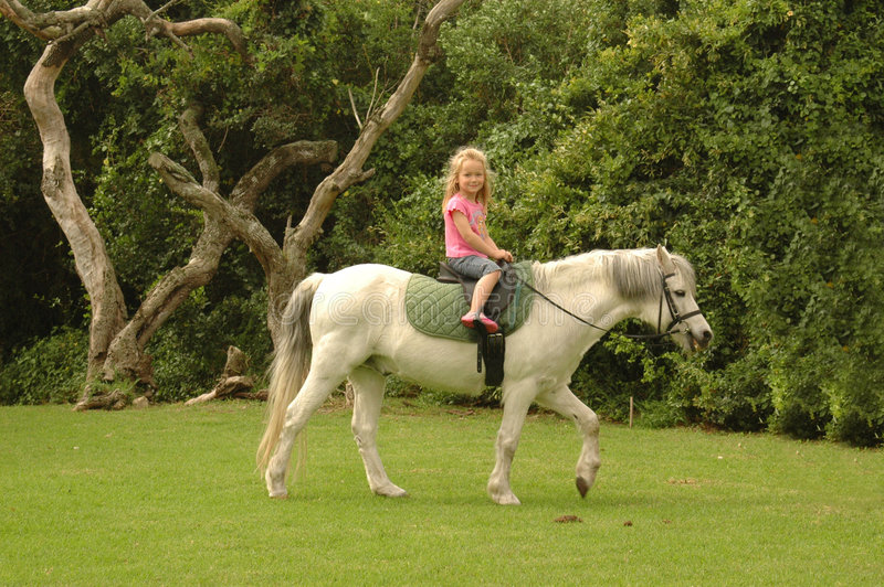 Child riding pony. A beautiful little caucasian white girl child with long blond hair and friendly expression in the pretty face sitting on her pony and riding stock photo