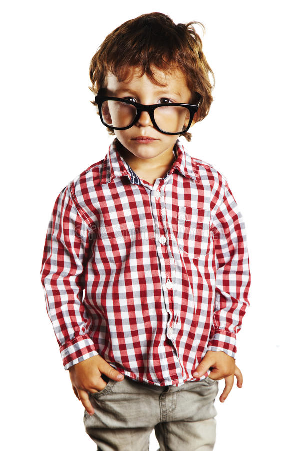 Download Child With Rimmed Glasses And Hands In Pockets Stock Photo - Image: 27402324