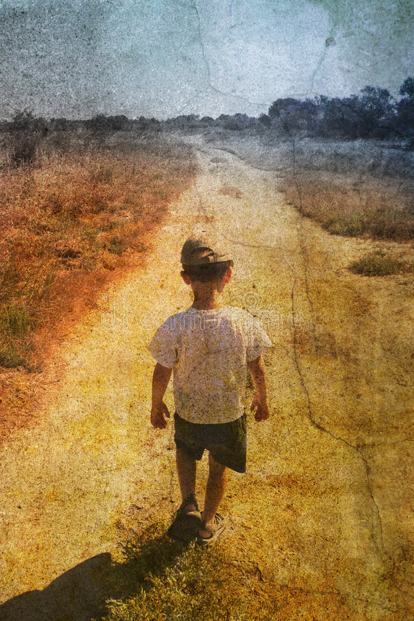 Child on the road royalty free stock photo