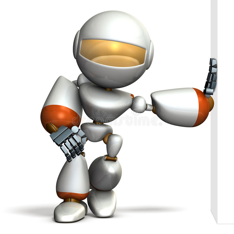 Child robot is leaning against the wall smugly. stock illustration