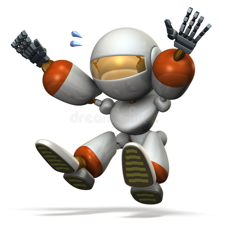 Child robot plays with the long jump. royalty free illustration