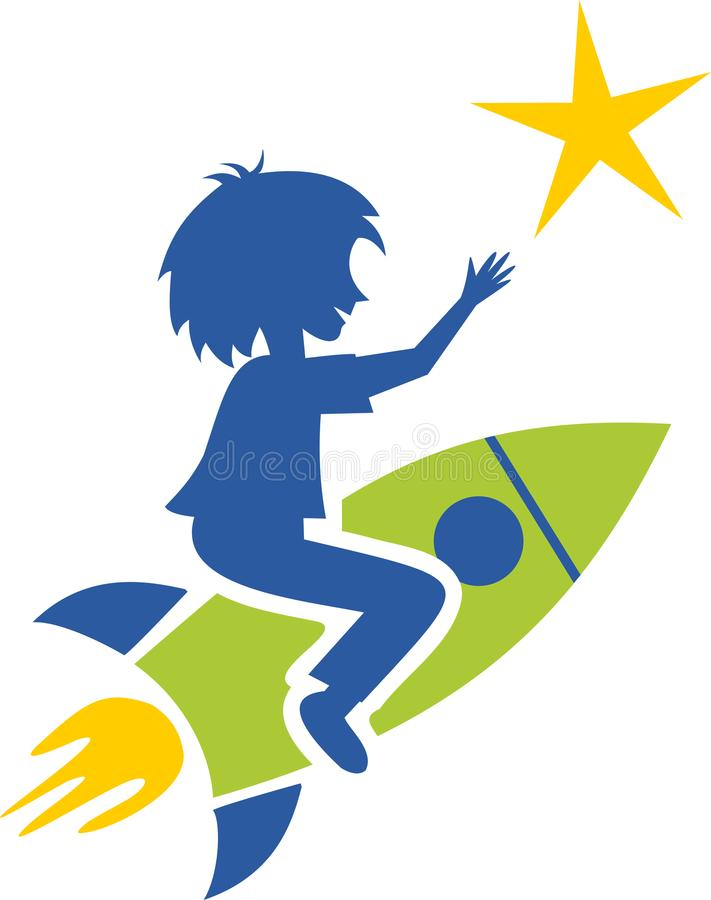 A child on a rocket. A child sitting on a rocket will unhook a star, a symbol of success, imagination and will royalty free illustration