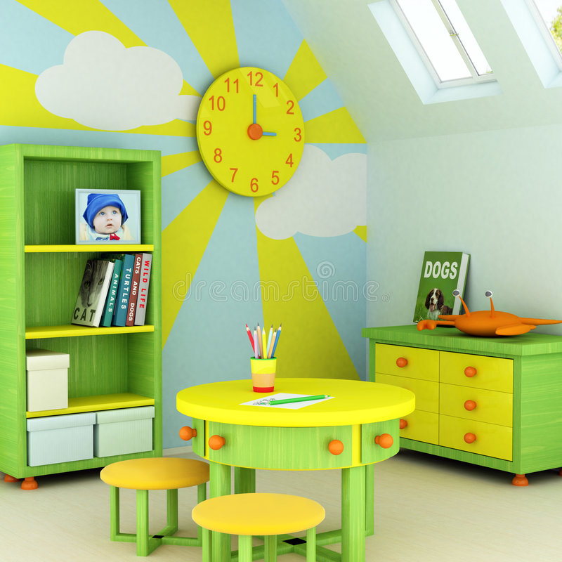 Child room. 3D rendering of a child's room Picture of a baby, design on the wall, picture on the table and book covers are my own images