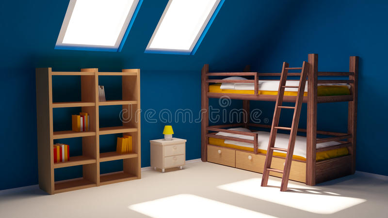Download Child room on attic stock illustration. Image of interior - 18852567
