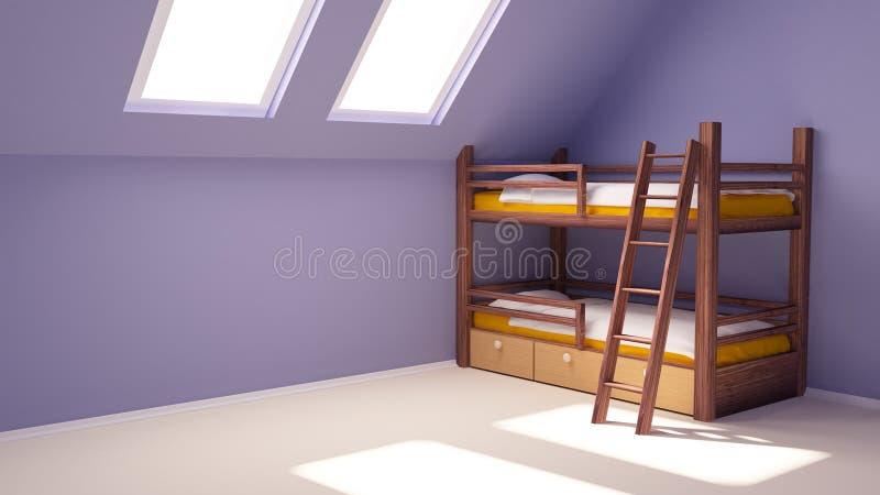 Download Child room on attic stock illustration. Illustration of home - 19593474